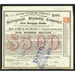 Narragansett Steamship Co., 1869 Issued Bond