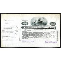 Standard Shipbuilding Corp., ca.1900 Proof Stock Certificate.