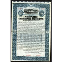 Newark Consolidated Gas Co., 1898 Specimen Bond