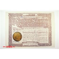 Northern Security Oil and Transporting Co., 1903 Issued Stock