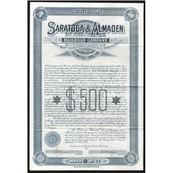 Saratoga & Almaden Railroad Co., 1885 Bond.