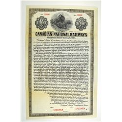 Canadian National Railways, 1920 Specimen Bond.