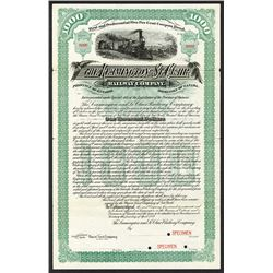Leamington and St.Clair Railway Co. 1889 Specimen Bond.