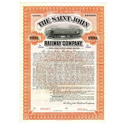 Saint John Railway Co., 1907 Specimen Bond