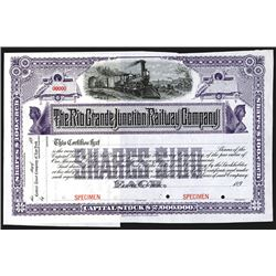 Rio Grande Junction Railway Co., 189x Specimen Stock Certificate.