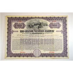 Rio Grande Western Railway Co., ca.1900-1910 Specimen Bond.