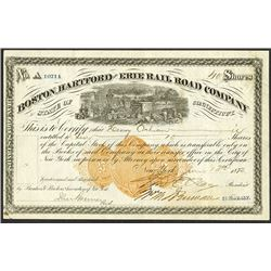 Boston, Hartford, and Erie Rail Road Co. 1872 Issued Stock
