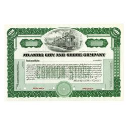 Atlantic City and Shore Co., ca.1970-1980 Specimen Stock Certificate