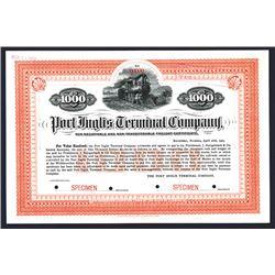 Port Inglis Terminal Co. 1905 Specimen 5% Freight Certificate Bond.
