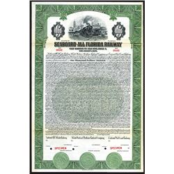 Seaboard-All Florida Railway 1926 Specimen Bond.