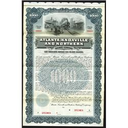Atlanta, Knoxville and Northern Railway Co., 1902 Specimen Bond