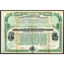 Georgia, Carolina and Northern Railway Co., 1889 Specimen Bond