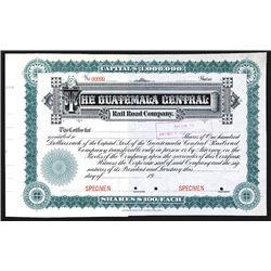 Guatemala Central Rail Road Co., ca. 1900, Specimen Stock Certificate.