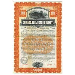 Chicago, Burlington & Quincy Railroad Co., 1899 Specimen Bond