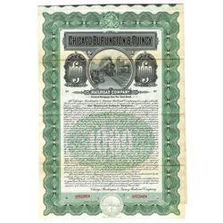 Chicago, Burlington & Quincy Railroad Co., 1908 Specimen Bond