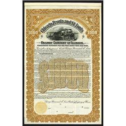Chicago, Peoria and St. Louis Railway Co., 1900 Specimen Bond.