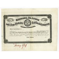 Chicago, St. Louis and New Orleans Rail Road Co., ca.1880-1890 Proof Certificate.