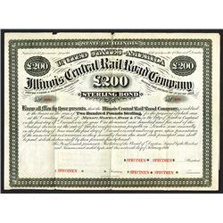 Illinois Central Rail Road Co., 1876 Specimen Bond