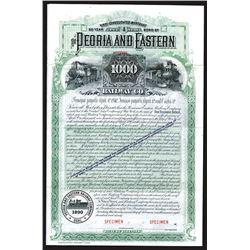 Peoria and Eastern Railway Co., 1890 Specimen Bond.