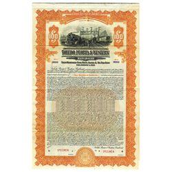 Toledo, Peoria & Western Railroad, 1927 Specimen Bond
