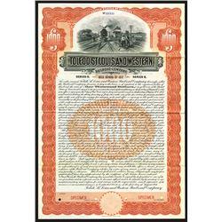 Toledo, St.Louis and Western Railroad Co., 1907 Specimen Bond.