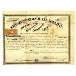 Junction Rail Road Co., 1864 Issued Stock Certificate