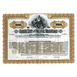 Sioux City and Pacific Railroad Co., ca,1900-1920 Specimen Bond