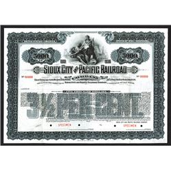 Sioux City and Pacific Railroad Co. 1901 Specimen Bond.