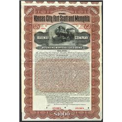 Kansas City, Fort Scott and Memphis Railway Co. 1901 Specimen Bond