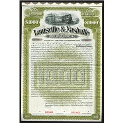 Louisville and Nashville Railroad Co: St. Louis Division, 1881 Specimen Bond