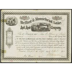Belfast & Moosehead Lake Rail Road Co. Issued Stock.