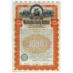 Washington County Railroad, 1898 Specimen Bond.