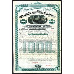 Escanaba and Lake Superior Railway Co., 1882. Specimen Bond