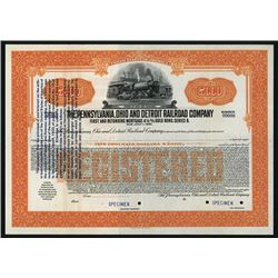 Pennsylvania, Ohio and Detroit Railroad Co. 1933 Specimen Bond with Gold Clause Change.