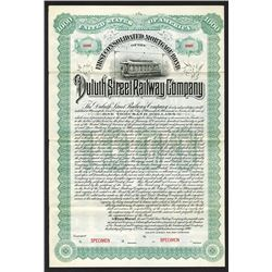 Duluth Street Railway Co. 1890 Specimen Bond..