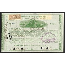 Milwaukee and St. Paul Railway Co., 1864 Issued Stock Certificate Signed by Russell Sage as Presiden
