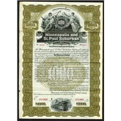 Minneapolis and St. Paul Suburban Railway Co., 1899 Specimen Bond