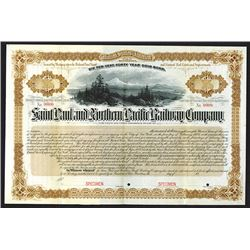 Saint Paul and Northern Pacific Railway Co. 1883 Specimen Bond