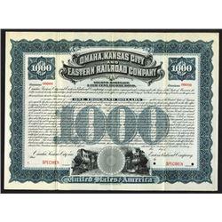 Omaha, Kansas City and Eastern Railroad Co., ca.1890-1910 Specimen Bond