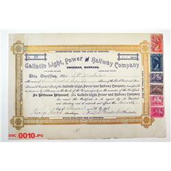 Gallatin Light, Power and Railway Co., 1899 Issued Stock