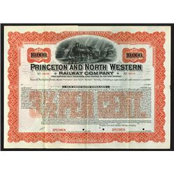 Princeton and North Western Railway Co., 1926 Specimen Bond
