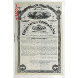 Carolina Central Railroad Co., 1881 Issued Bond