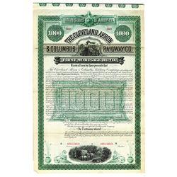 Cleveland, Akron & Columbus Railway Co., 1886 Specimen Bond