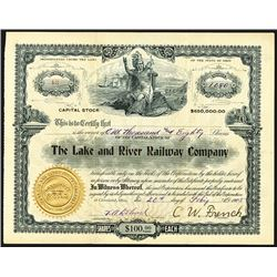 Lake and River Railway Company, 1905 Issued Stock Certificate.