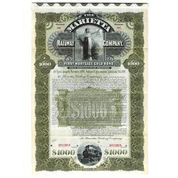 Marietta Railway Co., 1896 Specimen Bond