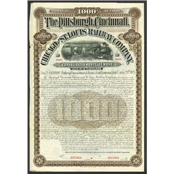 Pittsburgh, Cincinnati, Chicago and St. Louis Railway Co., 1903 Specimen Bond.