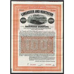 Lancaster & Northern Railroad Co. 1910 Specimen Bond..