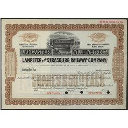 Lancaster Willow Street, Lampeter and Strasburg Railway Co., ca.1900-1920 Specimen Stock Certificate