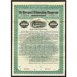 McKeesport, Wilmerding & Duquesne Railway Co. 1899 Specimen Bond..