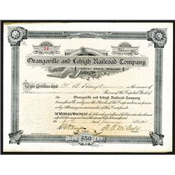 Orangeville & Lehigh Railroad Co. 1893 Stock Certificate.